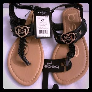 Bebe size 1 girls sandals - Black and Tan